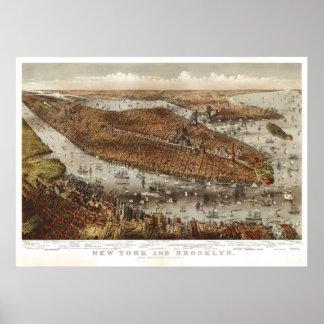 Manhattan (párrocos y Atwater) 1875, BigMapBlog.co Poster