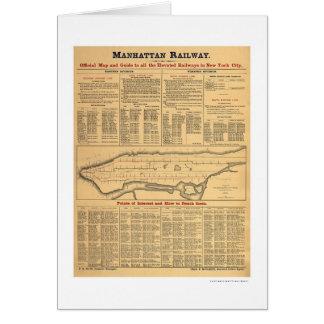 Manhattan Railway Railroad Map 1881 Card