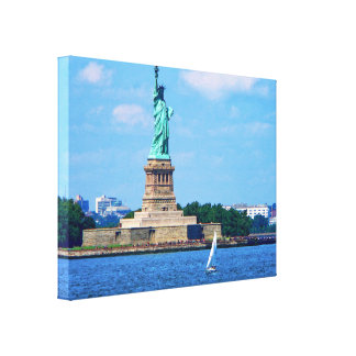 Manhattan - Sailboat By Statue Of Liberty Canvas Print