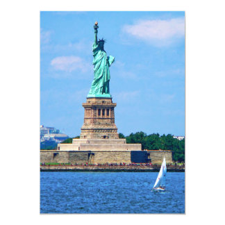 Manhattan - Sailboat By Statue Of Liberty Card