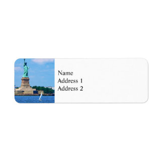 Manhattan - Sailboat By Statue Of Liberty Label