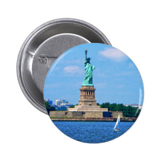 Manhattan - Sailboat By Statue Of Liberty Pinback Button