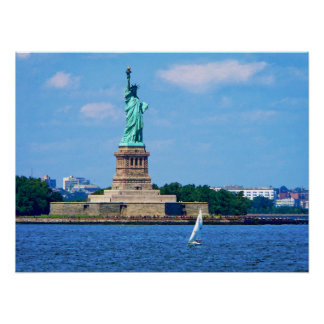 Manhattan - Sailboat By Statue Of Liberty Poster