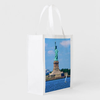 Manhattan - Sailboat By Statue Of Liberty Reusable Grocery Bag
