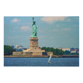 Manhattan - Sailboat By Statue Of Liberty Wood Print