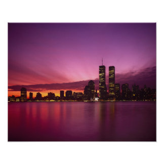 Manhattan Skyline and Hudson River, New York, Poster