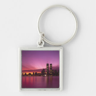 Manhattan Skyline and Hudson River, New York, Silver-Colored Square Keychain