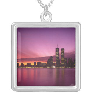 Manhattan Skyline and Hudson River, New York, Silver Plated Necklace