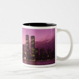 Manhattan Skyline and Hudson River, New York, Two-Tone Coffee Mug
