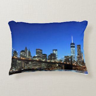 Manhattan Skyline and The Statue of Liberty Accent Pillow