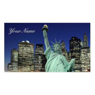 Manhattan Skyline and The Statue of Liberty Business Card Template