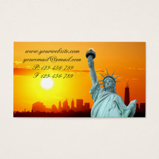 Manhattan Skyline and The Statue of Liberty Business Card