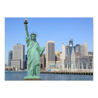 Manhattan Skyline and The Statue of Liberty Card
