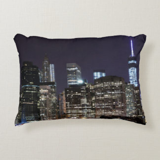 Manhattan Skyline and The Statue of Liberty Decorative Pillow