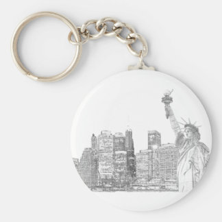 Manhattan Skyline and The Statue of Liberty Keychain