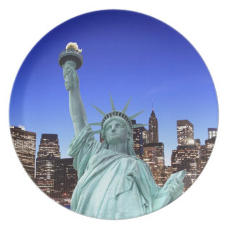 Manhattan Skyline and The Statue of Liberty Melamine Plate