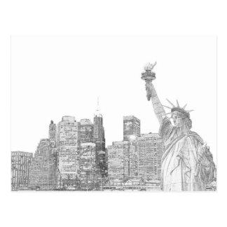 Manhattan Skyline and The Statue of Liberty Postcard