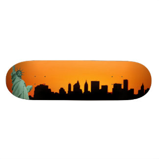 Manhattan Skyline and The Statue of Liberty Skateboard Deck