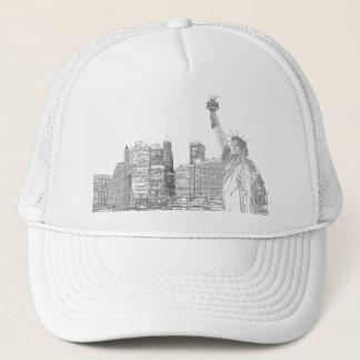 Manhattan Skyline and The Statue of Liberty Trucker Hat