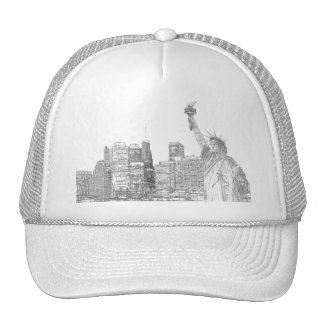 Manhattan Skyline and The Statue of Liberty Trucker Hat