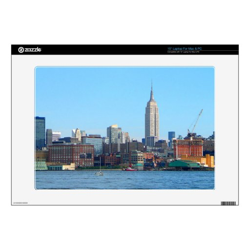 "Manhattan Skyline as Seen From Hoboken, NJ Decal For 15"" Laptop"