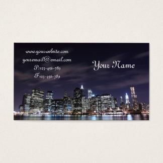 Manhattan Skyline at Night Business Card