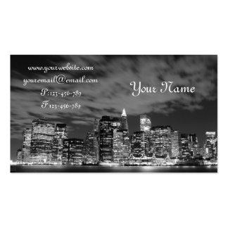 Manhattan Skyline at Night Business Card Template