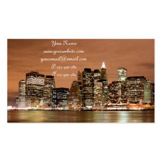 Manhattan Skyline at Night Business Card Templates