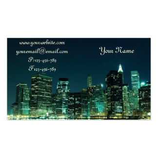 Manhattan Skyline at Night Double-Sided Standard Business Cards (Pack Of 100)
