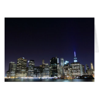 Manhattan skyline at Night Lights, New York City Card