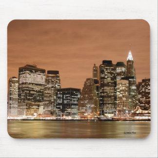 Manhattan skyline at Night Lights, New York City Mouse Pad