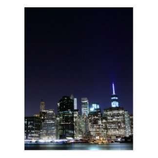 Manhattan skyline at Night Lights, New York City Postcard