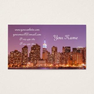 Manhattan Skyline at Night, New York City Business Card