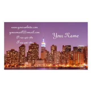 Manhattan Skyline at Night, New York City Double-Sided Standard Business Cards (Pack Of 100)