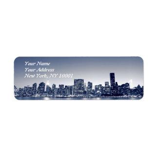 Manhattan Skyline At Night, New York City Label