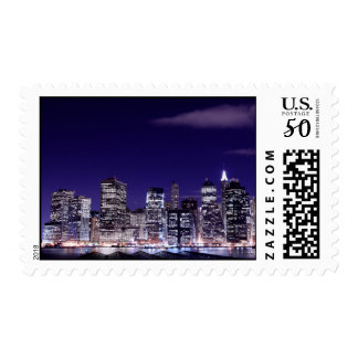 Manhattan Skyline At Night, New York City Postage