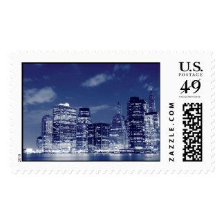 Manhattan Skyline At Night, New York City Stamp