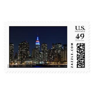 Manhattan Skyline At Night, New York City Postage Stamps