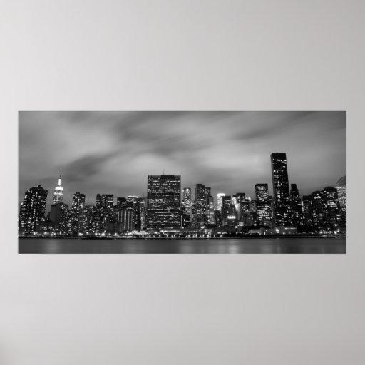 Manhattan Skyline at Night Poster