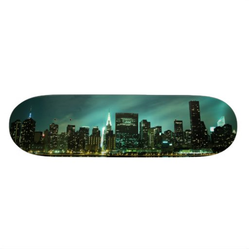 Manhattan Skyline at Night Skate Deck
