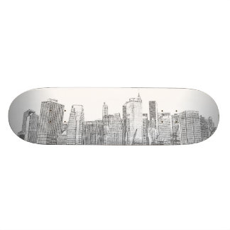 Manhattan Skyline at Night Skateboard