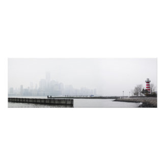 Manhattan Skyline in Fog with Lighthouse Photo Print