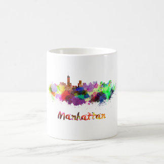 Manhattan skyline in watercolor coffee mug