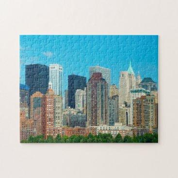 USA Themed Manhattan Skyline New York. Jigsaw Puzzle