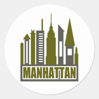 Manhattan Skyline With Cutouts, Gray & Green Classic Round Sticker