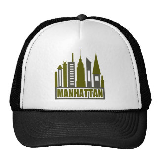 Manhattan Skyline With Cutouts, Gray & Green Hat