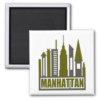 Manhattan Skyline With Cutouts, Gray & Green 2 Inch Square Magnet