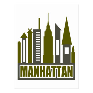 Manhattan Skyline With Cutouts, Gray & Green Postcard