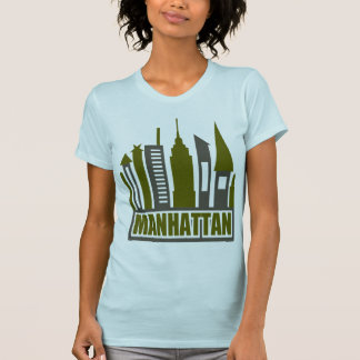 Manhattan Skyline With Cutouts, Gray & Green Tees