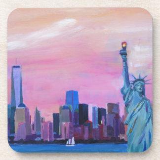 Manhattan Skyline with Statue of Liberty Beverage Coaster